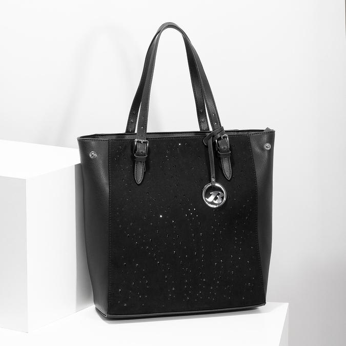 Černá kabelka ve stylu Tote s kamínky bata, černá, 969-6875 - 17