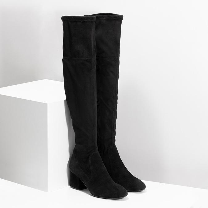 Černé kozačky na stabilním podpatku bata, černá, 793-6614 - 26