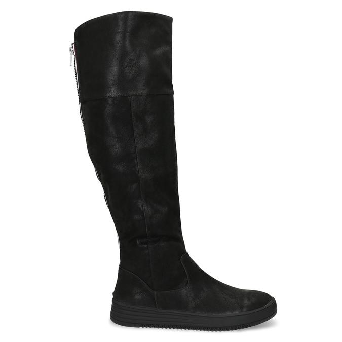 Dámské černé kozačky s výrazným zipem bata, černá, 691-6636 - 19