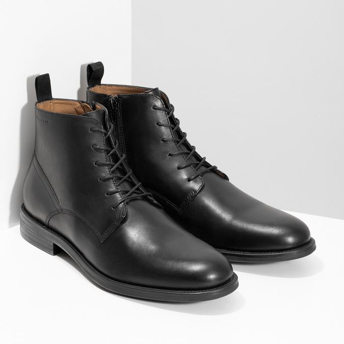 Pánská kožená kotníčková obuv černá vagabond, černá, 824-6238 - 26