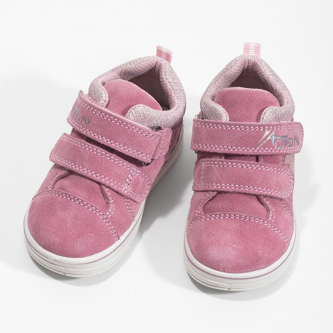 Růžové dětské kožené tenisky bubblegummers, růžová, 123-5611 - 16