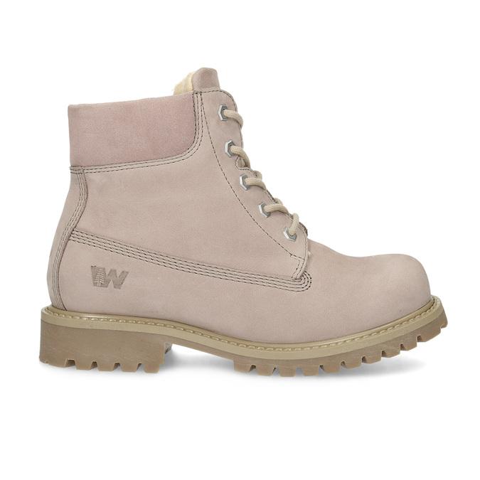 Růžová kožená kotníčková obuv weinbrenner-junior, růžová, 326-5608 - 19