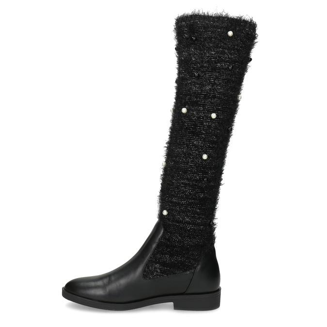 Černé kozačky s perličkami bata, černá, 599-6619 - 17