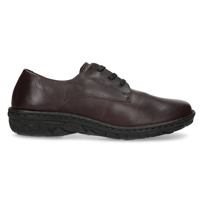Vínové ležérní dámské kožené polobotky bata, červená, 526-5665 - 19
