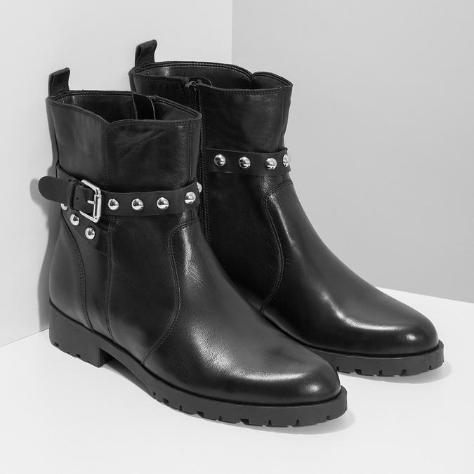 Černá kožená kotníčková obuv s kovovými cvoky bata, černá, 594-6671 - 26
