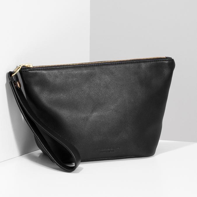 Černá kožená kabelka s páskem na zápěstí vagabond, černá, 964-6012 - 17