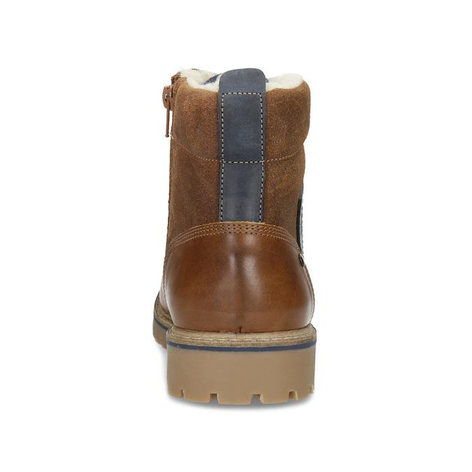 Chlapecká kotníčková obuv s kožíškem mini-b, hnědá, 414-3603 - 15