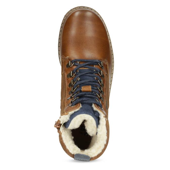 Chlapecká kotníčková obuv s kožíškem mini-b, hnědá, 414-3603 - 17