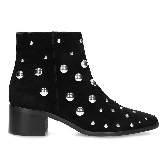 Kotníčkové kožené kozačky s kovovými cvoky bata, černá, 693-6605 - 19