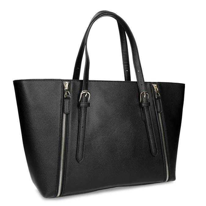 Černá dámská kabelka se stříbrnými zipy bata, černá, 961-6920 - 13