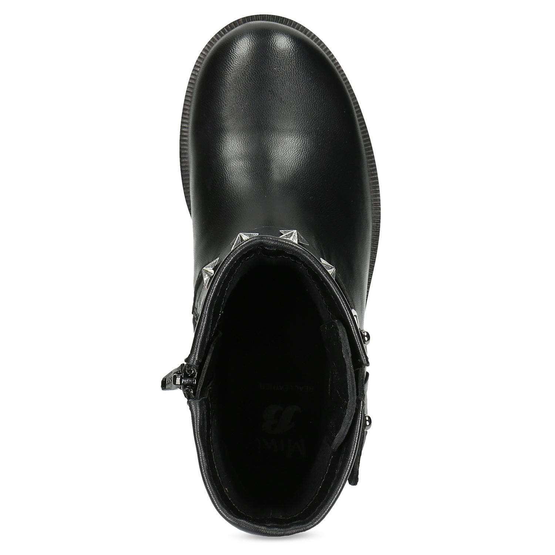 Mini B Kožené dětské kozačky s kovovými cvoky - Všechny dětské boty ... 333cac398d