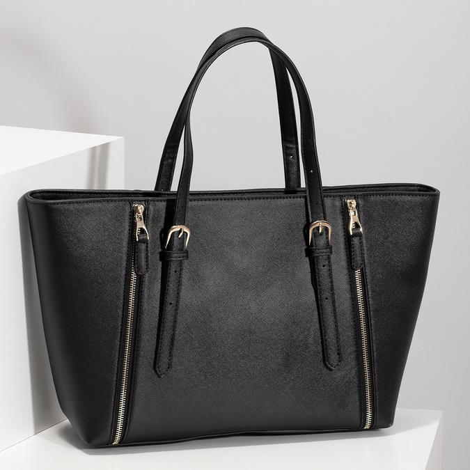 Černá dámská kabelka se stříbrnými zipy bata, černá, 961-6920 - 17