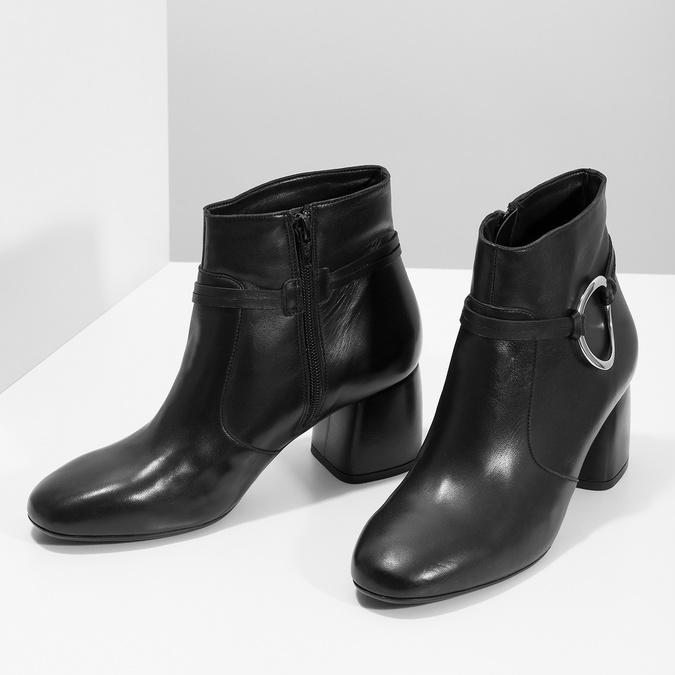 Kožená dámská kotníčková obuv bata, černá, 694-6665 - 16