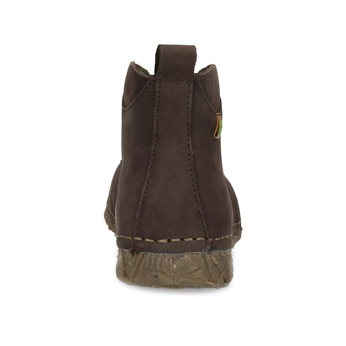 Dámská kožená kotníčková obuv tmavě hnědá el-naturalista, hnědá, 626-4088 - 15