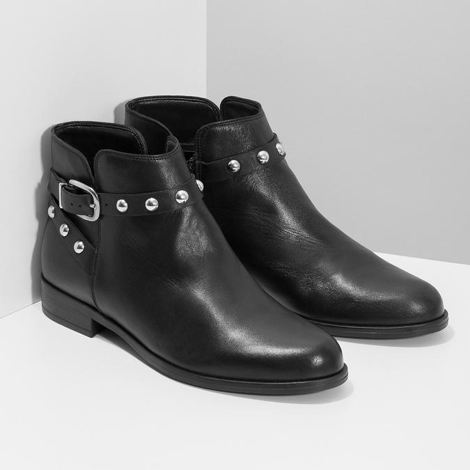 Kožená kotníčková obuv s kovovými cvoky bata, černá, 594-6668 - 26