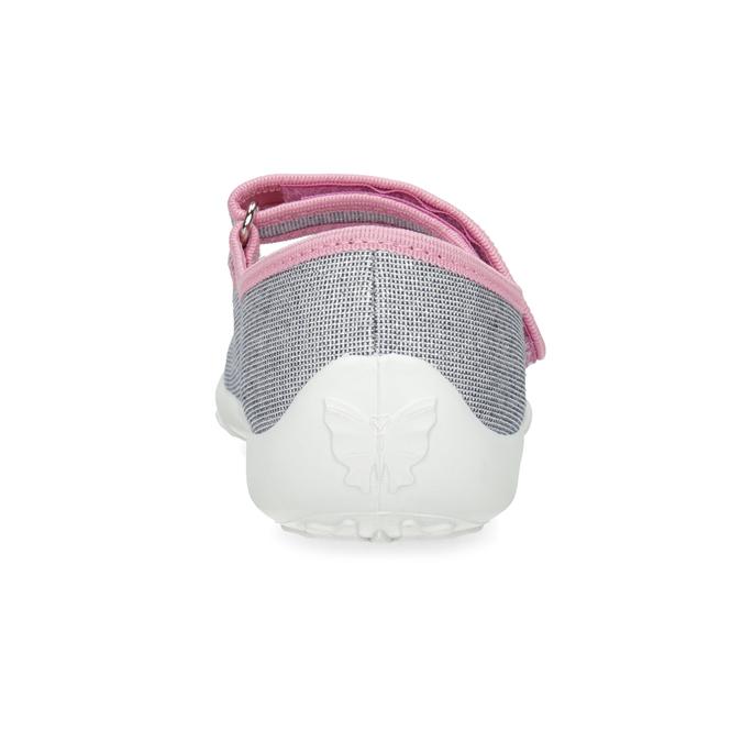 Dětská domácí obuv s mašličkou mini-b, stříbrná, 379-1314 - 15