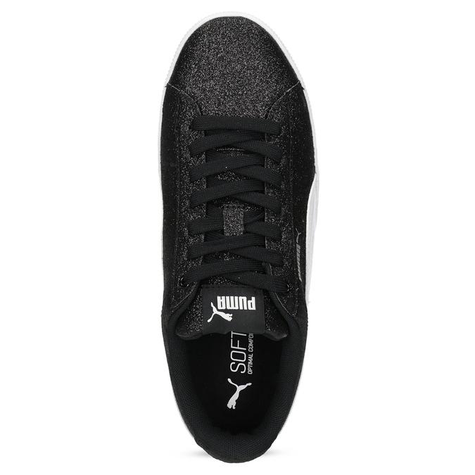 Dětské třpytivé tenisky na flatformě černé puma, stříbrná, 401-6392 - 17