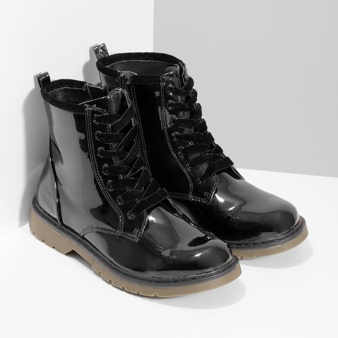Dívčí kotníčková obuv černá lesklá mini-b, černá, 391-6259 - 26