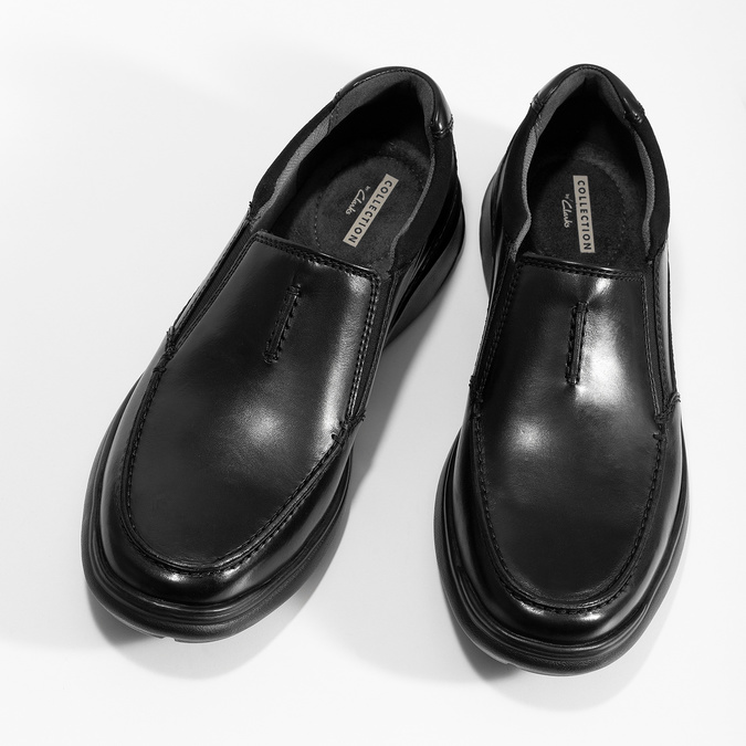 Pánské kožené černé mokasíny clarks, černá, 814-6072 - 16