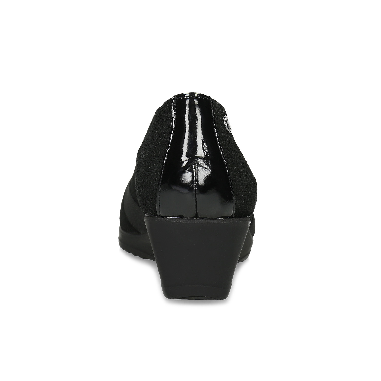 Comfit Kožené černé lodičky na nízkém klínku - Comfit  5e61f8af0d