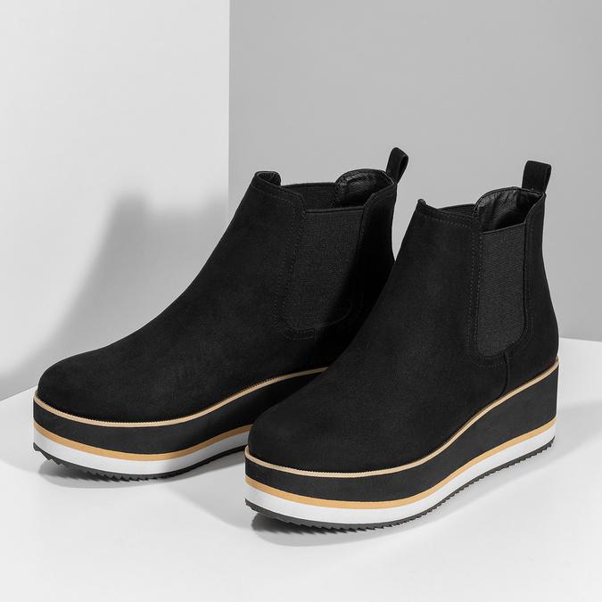 Dámská Chelsea obuv na flatformě bata, černá, 699-6638 - 16