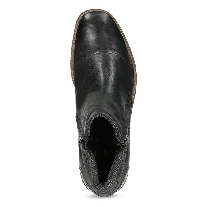Pánská kotníčková obuv se zipem černá bugatti, černá, 816-6026 - 17