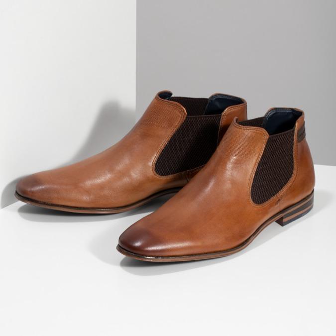Hnědá pánská kožená Chelsea obuv bugatti, hnědá, 816-3014 - 16