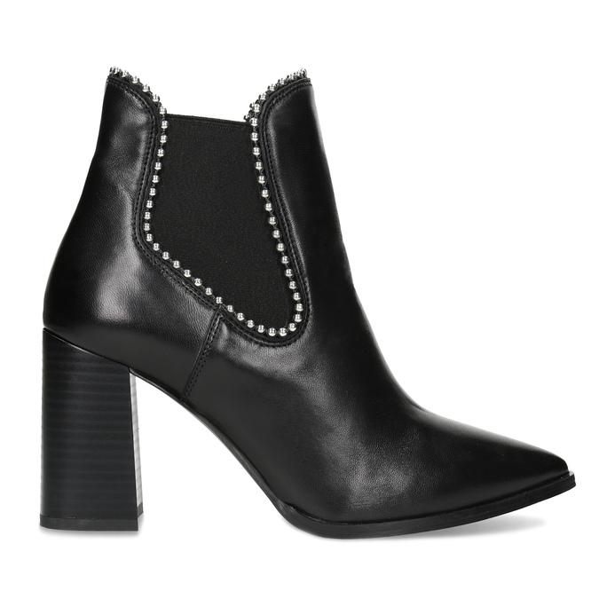 Kožená kotníčková obuv na podpatku bata, černá, 796-6660 - 19