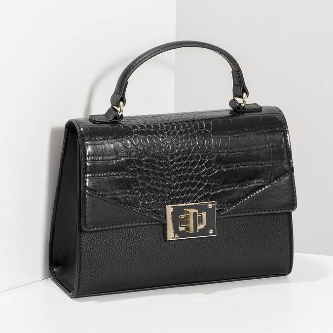 Černá kabelka s imitací hadí kůže bata-red-label, černá, 961-6892 - 17
