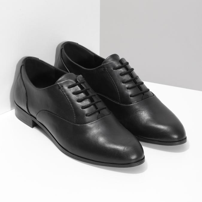 Dámské kožené černé Oxfordky bata, černá, 524-6668 - 26