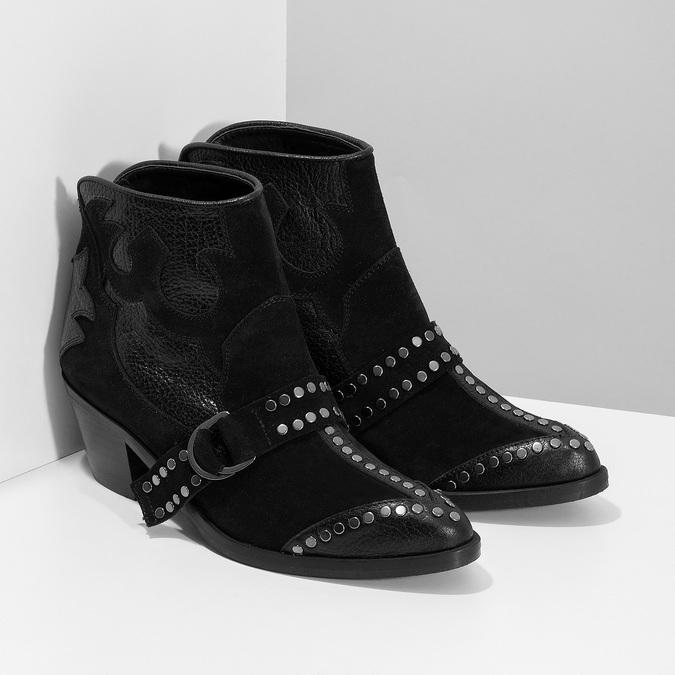 Kožená kotníčková obuv ve western stylu bata, černá, 696-6663 - 26
