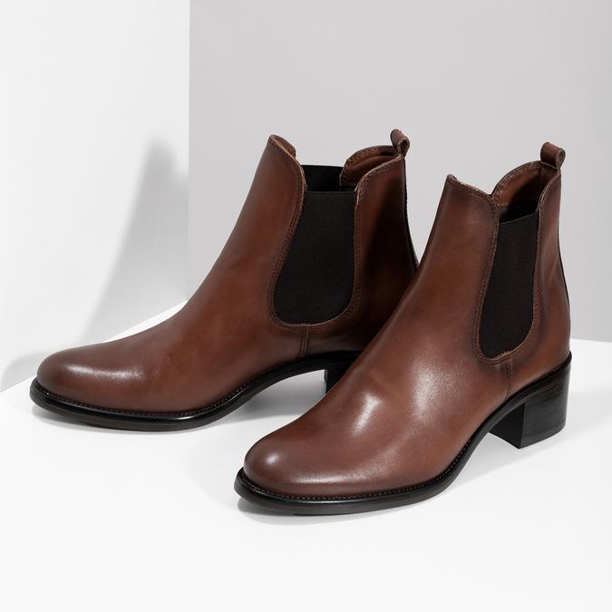 Kožené dámské Chelsea na podpatku bata, hnědá, 694-4667 - 16
