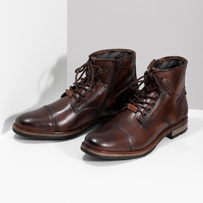 Zimní pánská kotníčková obuv kožená bugatti, hnědá, 896-3023 - 16