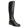 Vysoké kožené kozačky s kovovými cvoky bata, černá, 594-6669 - 13