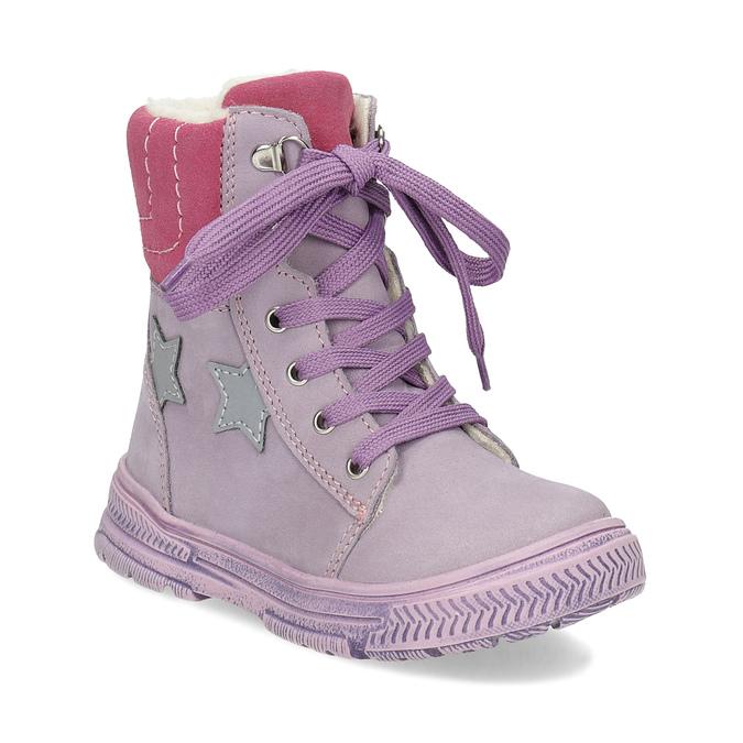 Dětská kožená kotníčková obuv s kožíškem mini-b, fialová, 296-9601 - 13