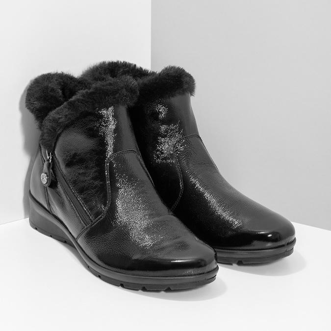 Dámská kožená kotníková obuv s kožíškem comfit, černá, 598-6605 - 26