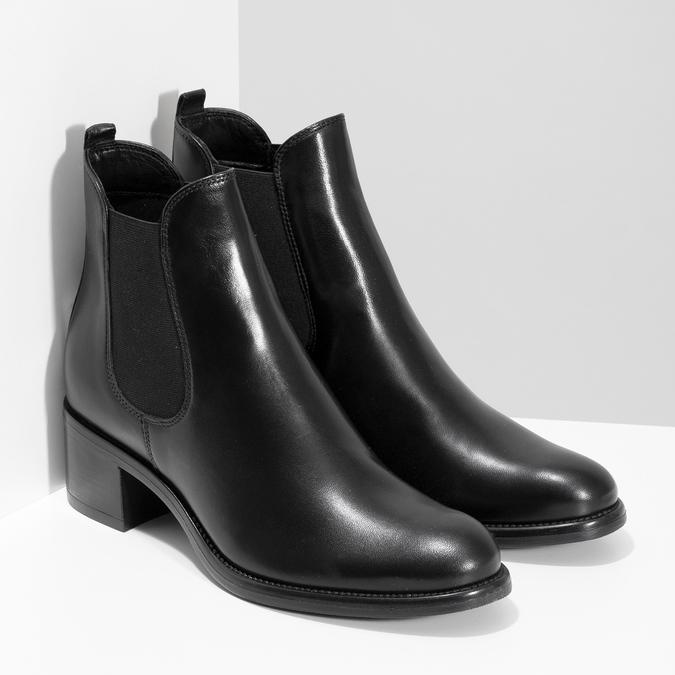 Kožené dámské Chelsea  na podpatku bata, černá, 694-6667 - 26