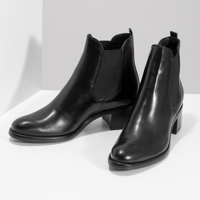 Kožené dámské Chelsea  na podpatku bata, černá, 694-6667 - 16
