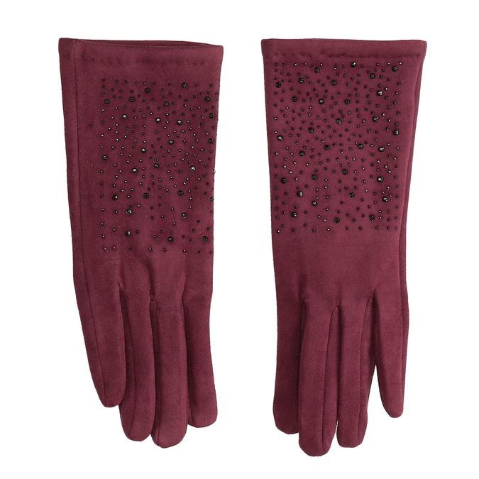 Vínové rukavice s kamínky bata, červená, 909-5692 - 26