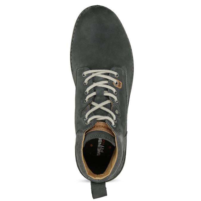 Kotníčková kožená pánská obuv s prošitím weinbrenner, šedá, 846-6719 - 17
