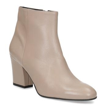 Krémové kožené kotníčkové kozačky na podpatku bata, béžová, 796-8654 - 13