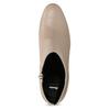 Krémová kožená kotníčková obuv na podpatku bata, béžová, 796-8654 - 17