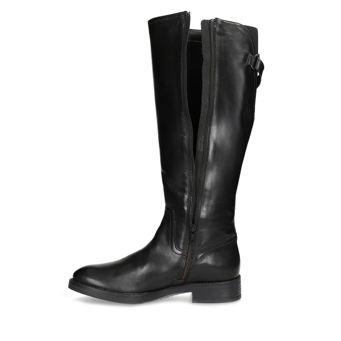 Kožené černé kozačky s přezkou bata, černá, 594-6678 - 17
