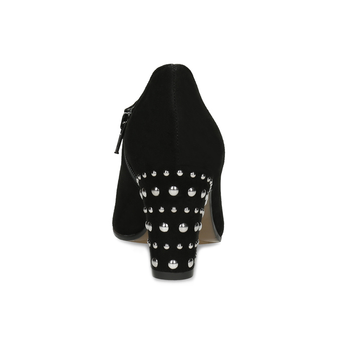 Dámská kožená kotníčková obuv se cvoky bata, černá, 723-6661 - 15