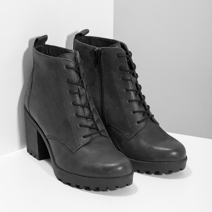 Dámská kožená kotníčková obuv se šněrováním bata, černá, 796-6653 - 26