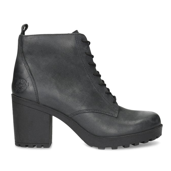 Dámská kožená kotníčková obuv se šněrováním bata, černá, 796-6653 - 19