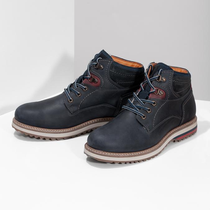 Kožená kotníková pánská zimní obuv bata, modrá, 896-9716 - 16