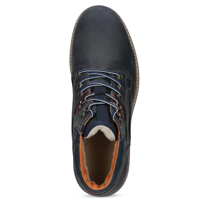 Kožená kotníková pánská zimní obuv bata, modrá, 896-9716 - 17
