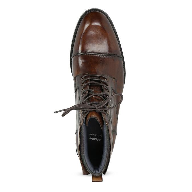 Pánská kotníková obuv hnědá lesklá bata, hnědá, 896-3720 - 17