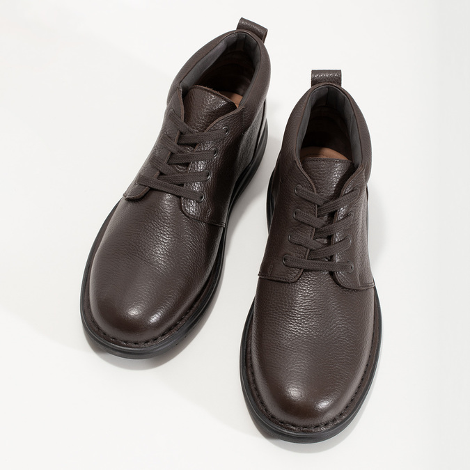 Kožená pánská kotníčková obuv comfit, hnědá, 896-4701 - 16